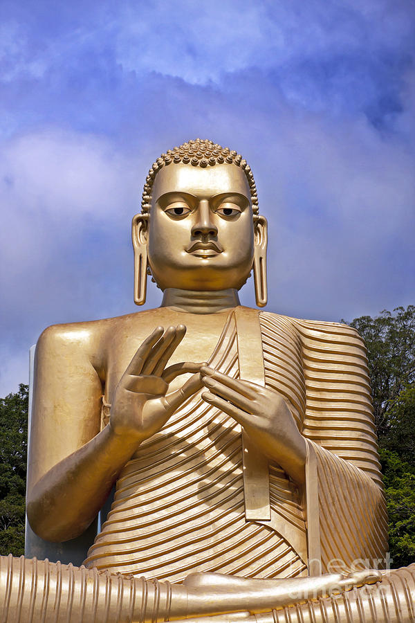 Ancient Photograph - Giant Gold Bhudda by Jane Rix