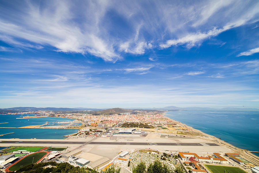 Airport Photograph - Gibraltar Airport Runway And La Linea Town by Artur Bogacki