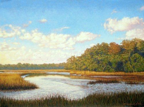 Marsh Scenes Painting - Giclee Autumn Flight by Michael Story