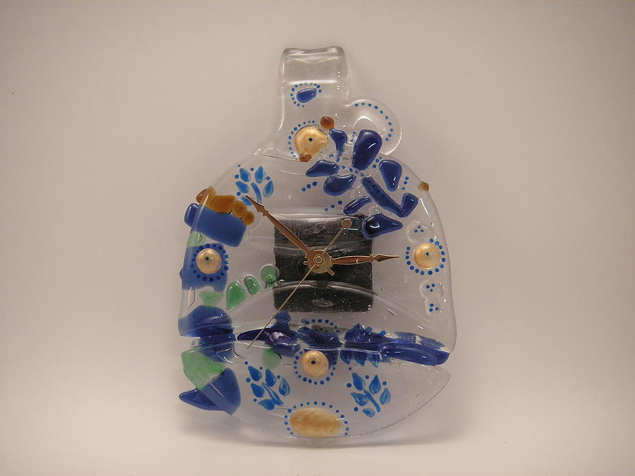 Mixed Media Glass Art - Giftcraft-glass  Clock by ALEXANDR and NATALIA GORBACHEV