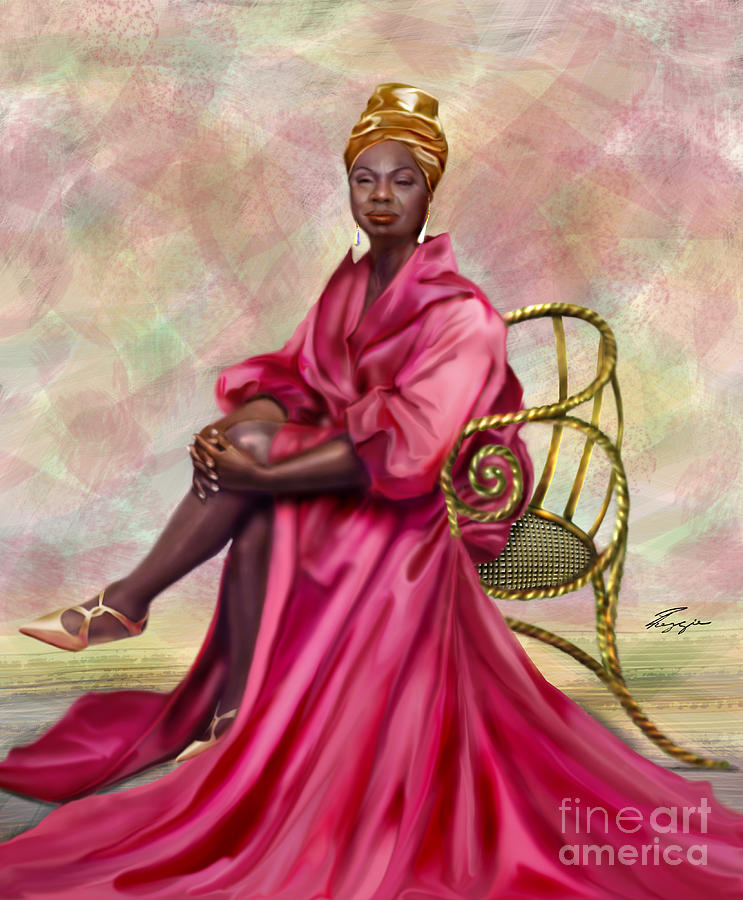 Nina Simone Painting - Gifted And Black-no Longer Looking Back by Reggie Duffie