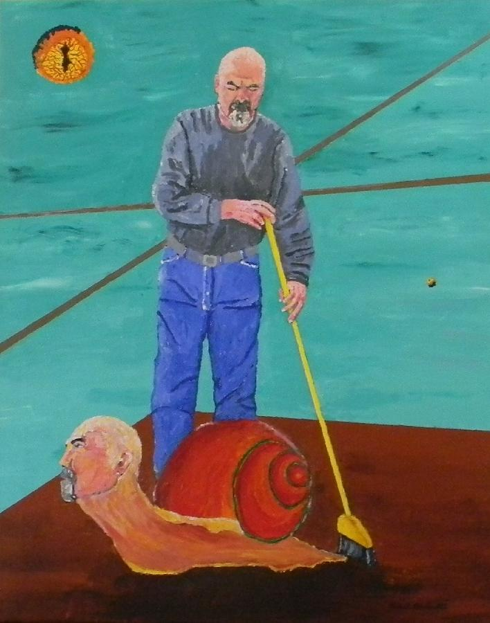 Self Portrait Painting - Gilbert Reluctantly Cleans Up His Behavior by Gilbert Bernhardt