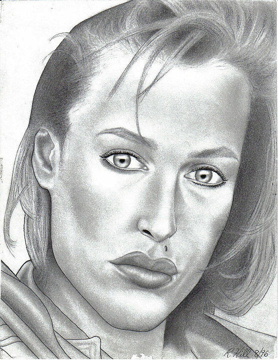 Portraits Drawing - Gillian Anderson by Rick Hill