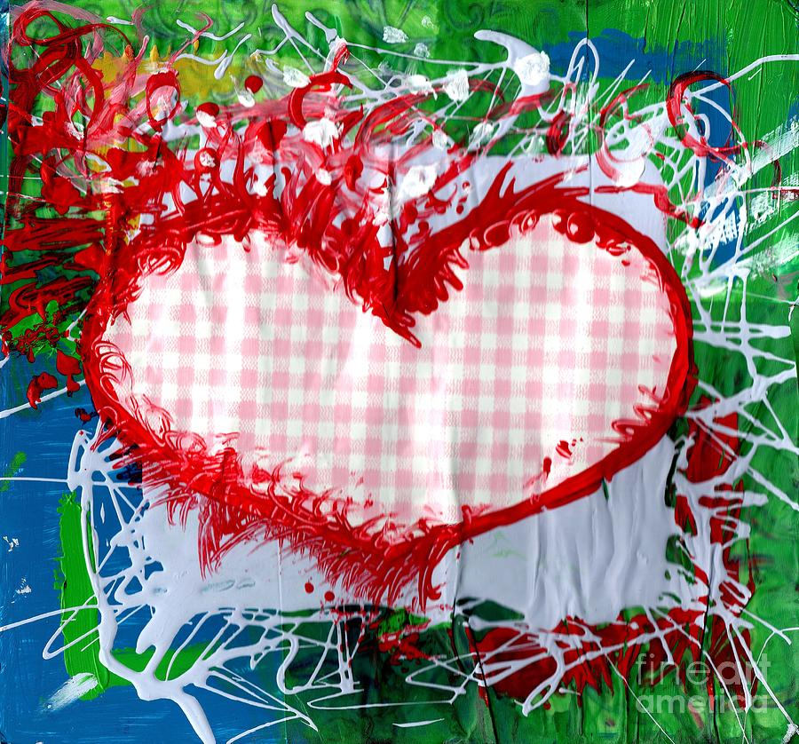 Heart Painting - Gingham Crazy Heart by Genevieve Esson