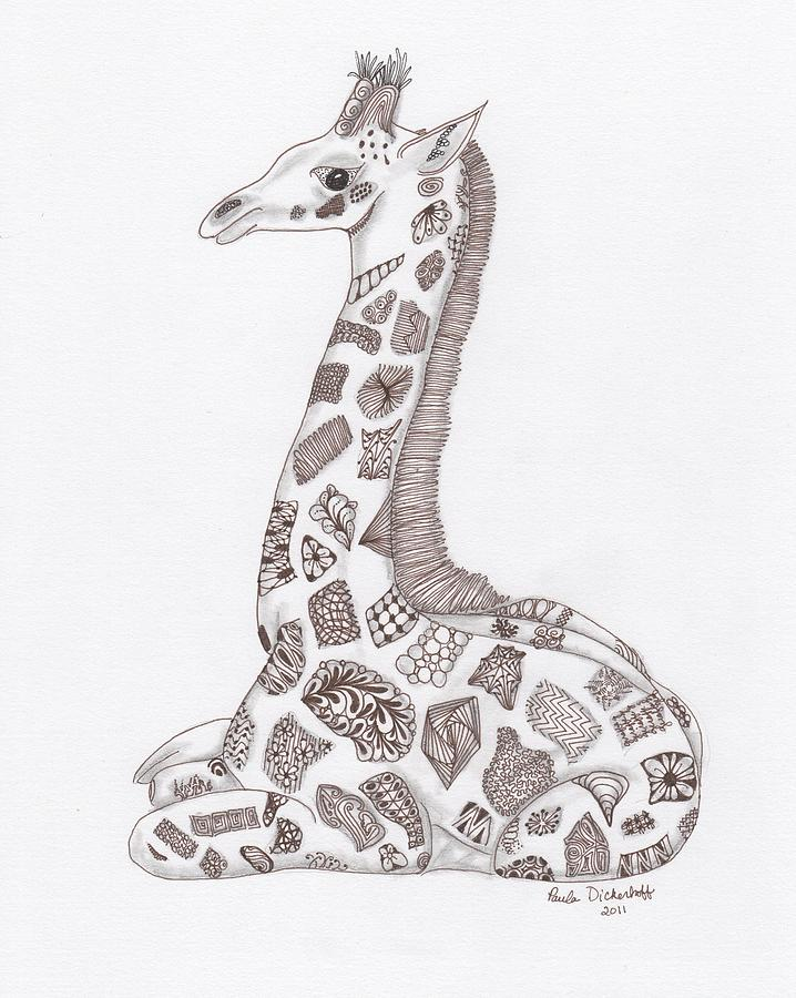 Lion Drawing - Giraffe by Paula Dickerhoff