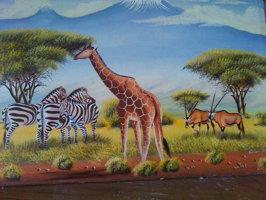Giraffe Safari Painting By John