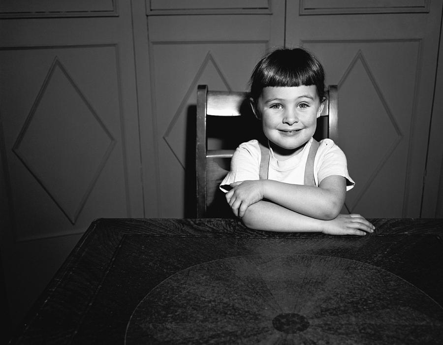 Child Photograph - Girl (5-5) Sitting At Table, (b&w), Portrait by George Marks