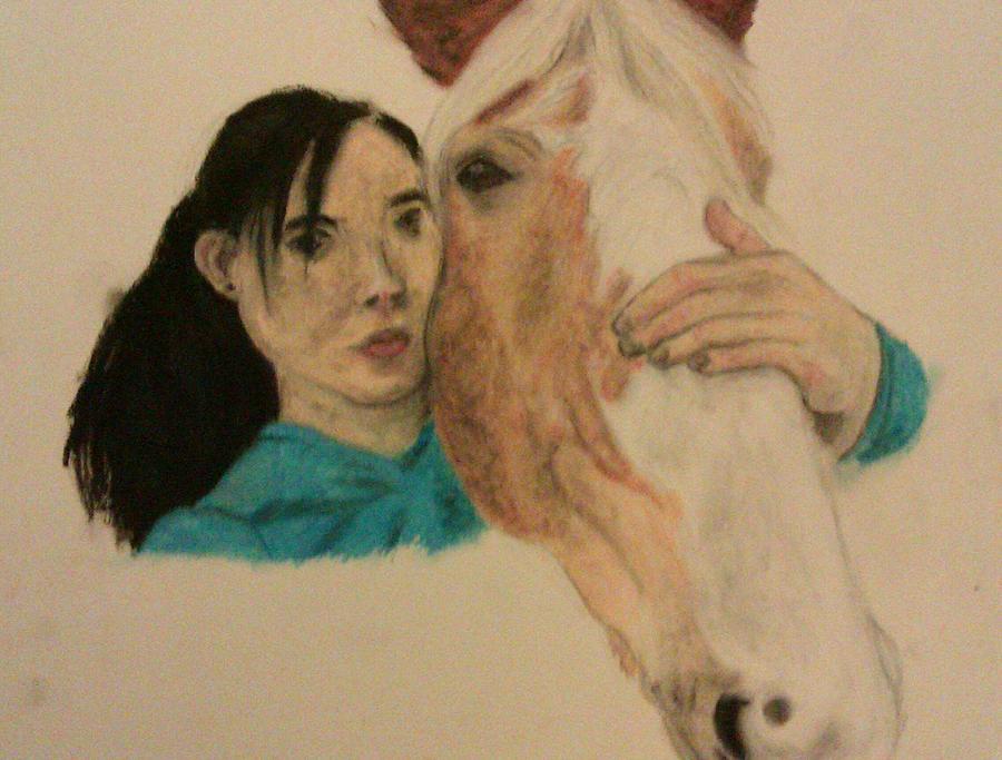 Girl And Pony Pastel by Jamie Mah