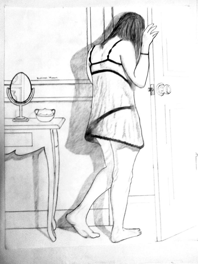 Girl Behind The Door Drawing by Rushikesh Murkar  sc 1 st  Fine Art America & Behind The Door Drawing by Rushikesh Murkar pezcame.com