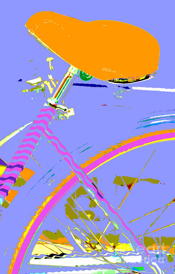 Anahi Decanio Mixed Media - Girl Bicycle Pop Art by ArtyZen Studios