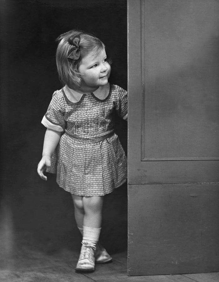 Child Photograph - Girl Coming Outside by George Marks