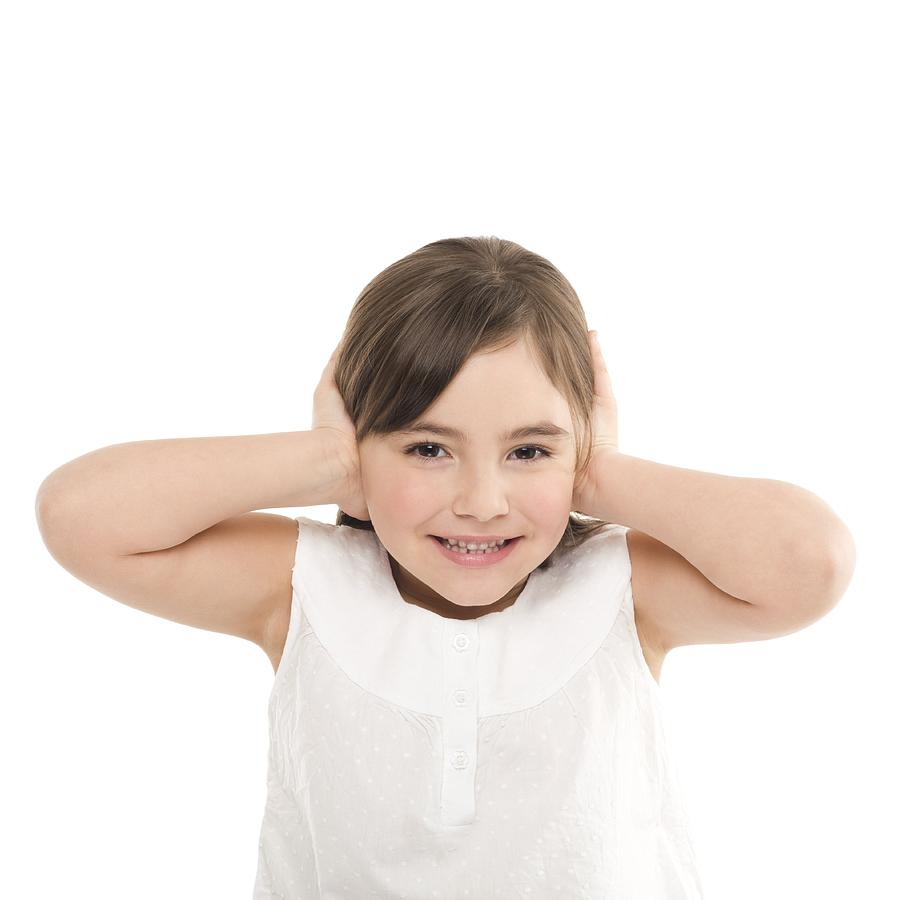 Brown Hair Photograph - Girl Covering Her Ears by