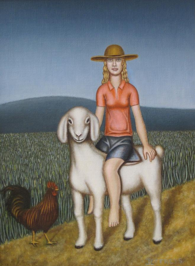 Figure Painting - Girl Goat And Chicken by Thomas Jeffreys