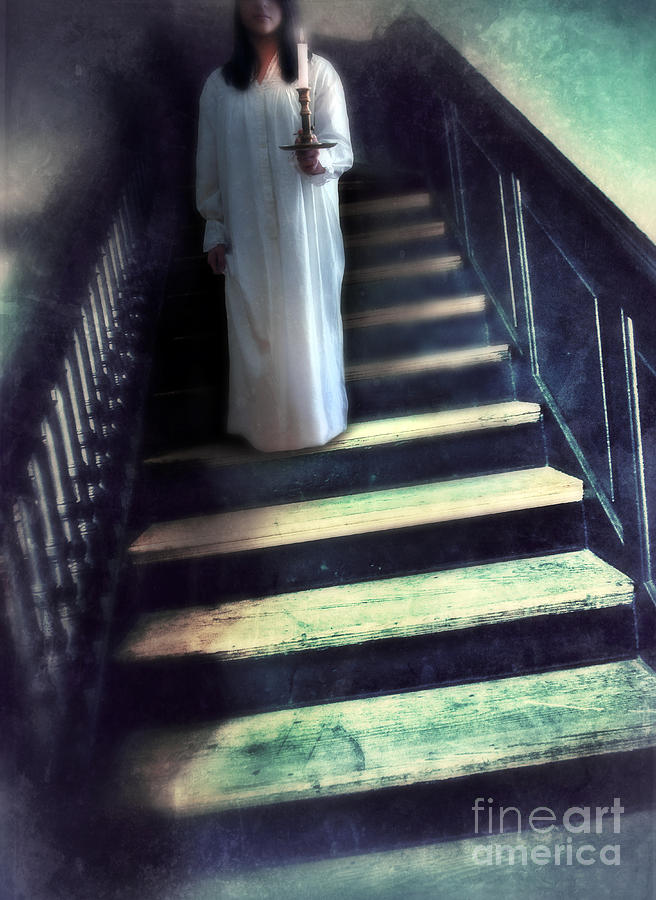 Woman Photograph - Girl In Nightgown On Steps by Jill Battaglia
