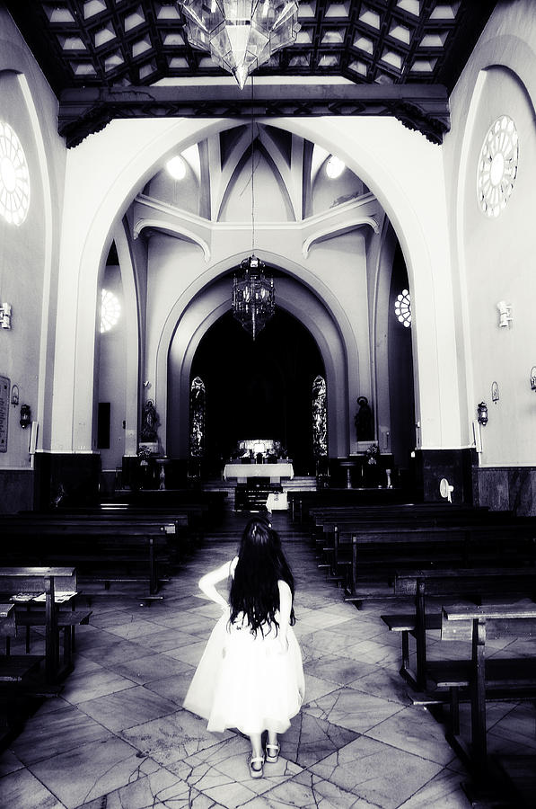 Church Photograph - Girl In The Church by Jenny Rainbow
