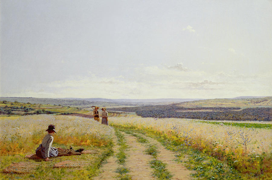 Girl Painting - Girl In The Fields   by Jean F Monchablon