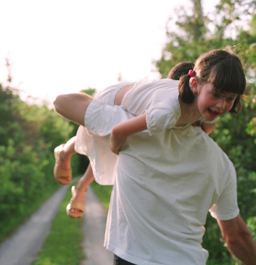 Adult Photograph - Girl On Fathers Shoulder by Michelle Quance
