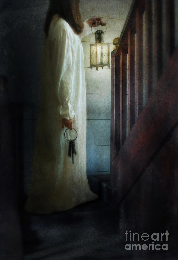 Woman Photograph - Girl On Stairs With Lantern And Keys by Jill Battaglia