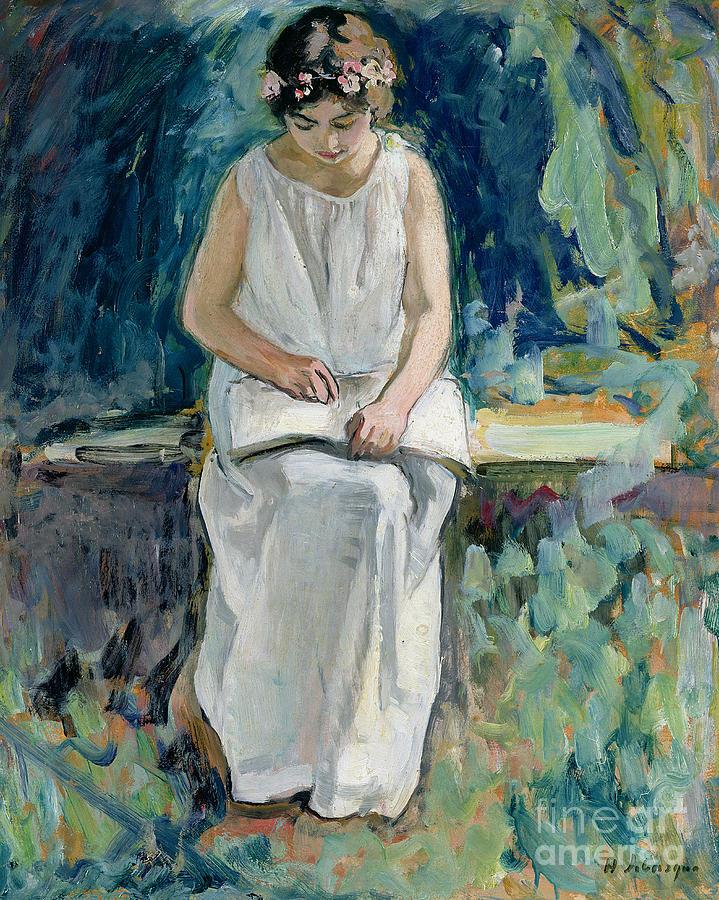 Girl Painting - Girl Reading by Henri Lebasque