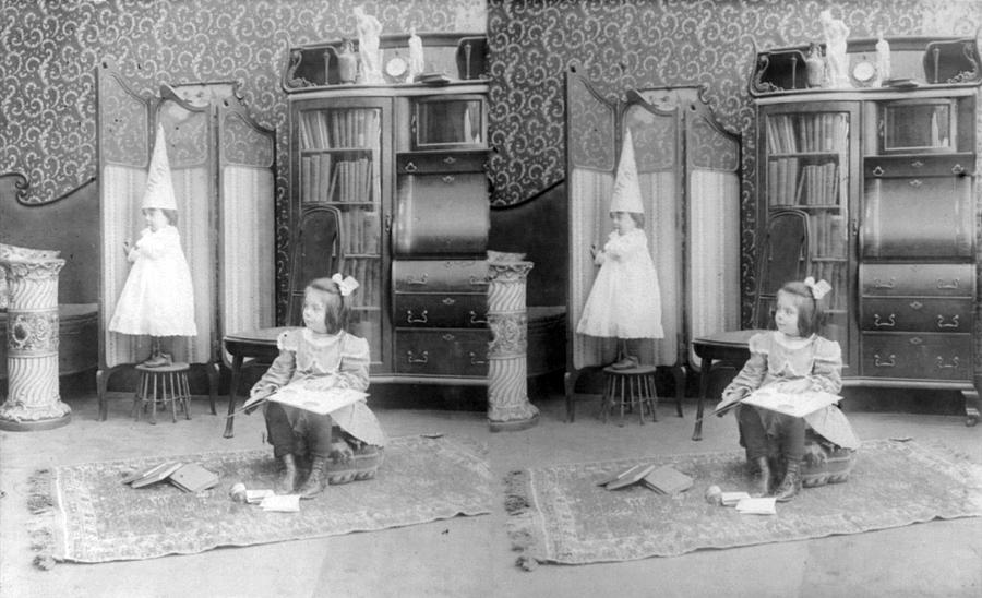 1900s Photograph - Girl Seated In Middle Of Room by Everett