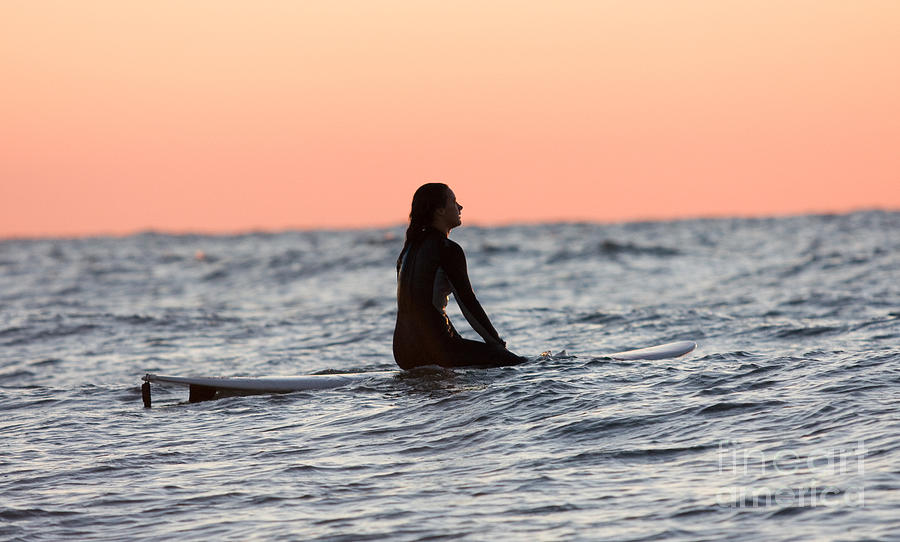Girl Sitting On Surboard Waiting For Wave Photograph By