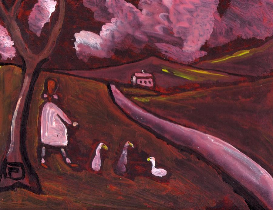 Girl Walking With Geese Mixed Media by Peter  McPartlin