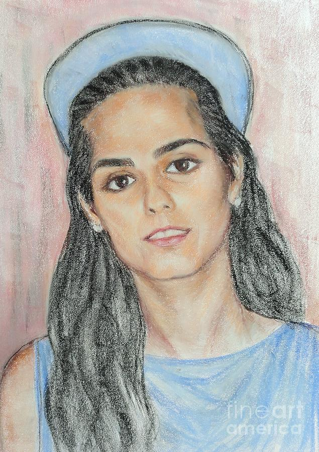 Portrait Painting - Girl With A Blue Cap by Ziba Bastani