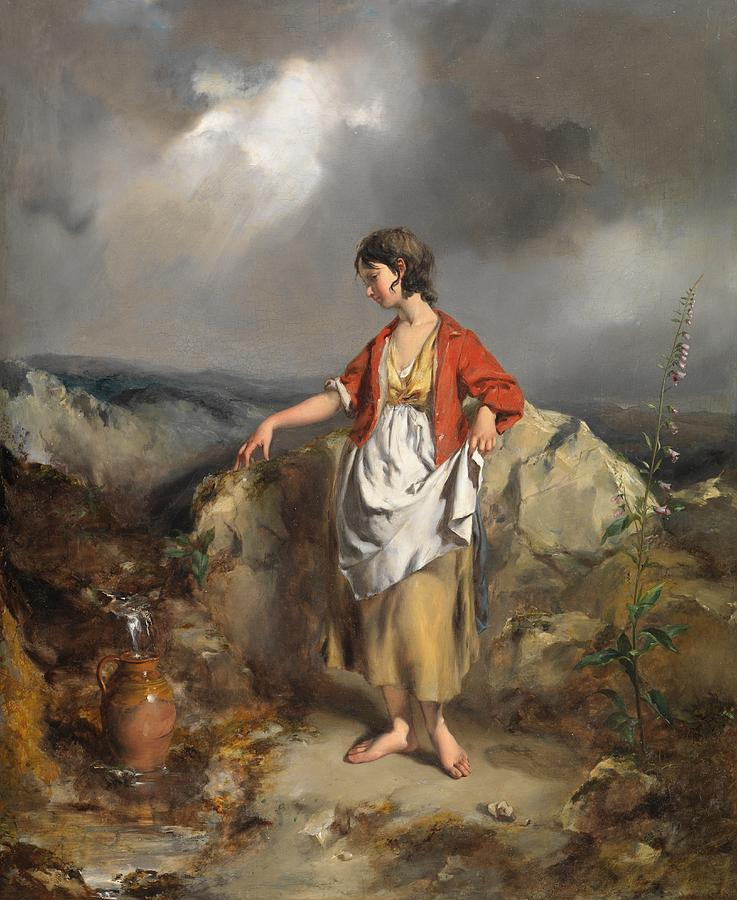 Overcast Painting - Girl With A Pitcher by PF Poole