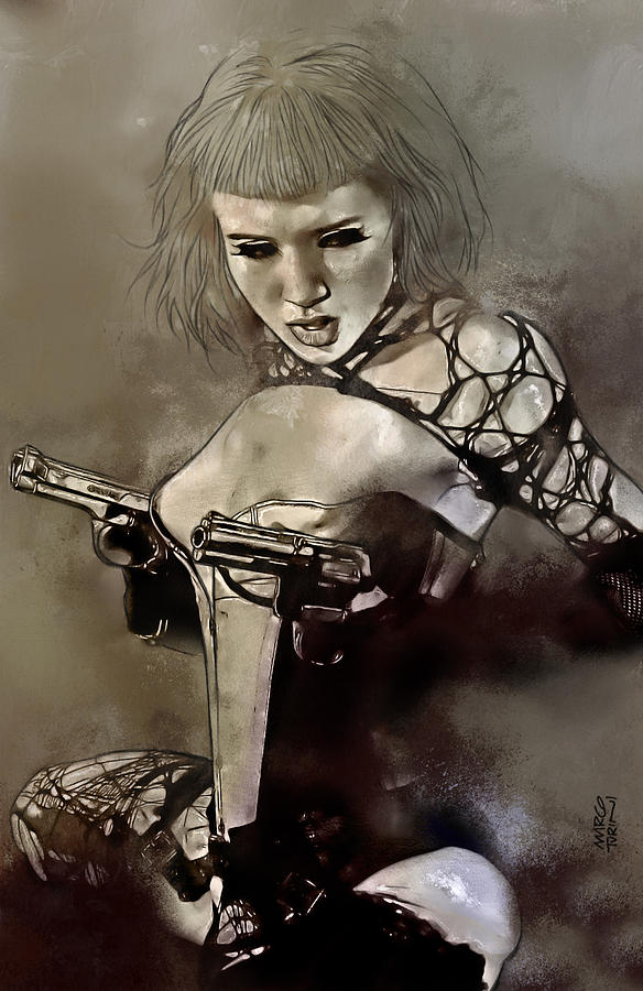 Female Painting - Girl With Guns by Marco Turini