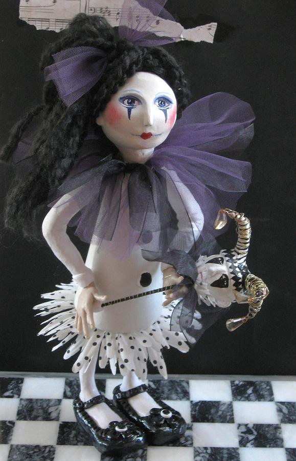 Clay Sculpture - Girl With Her Puppet by Cathi Doherty