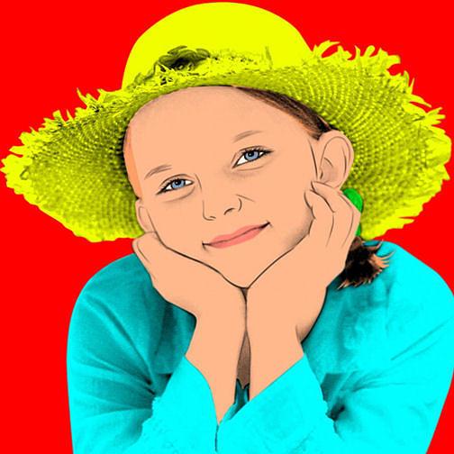 Warhol Digital Art - Girl With Strw Hat by M Felix