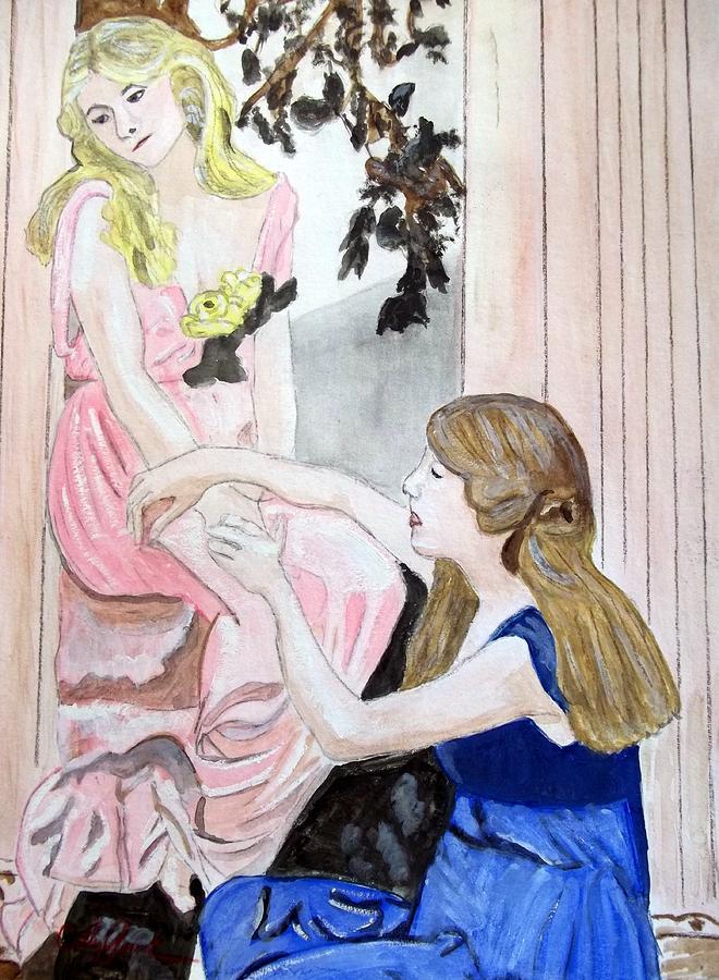 Girls Painting - Girlfriends Number One by Cathy Jourdan