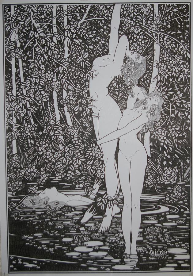 Girls In A Pond Drawing by Kevin Wood