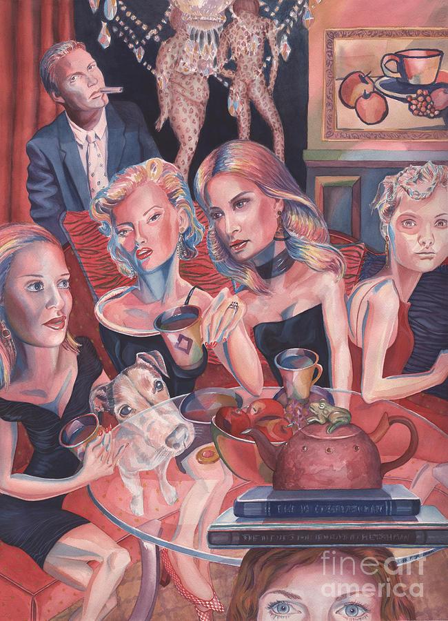 Coffee Night. Girls Night Out.  Tea Pot. Books Painting - Girls Night Out by Lisa Hershman