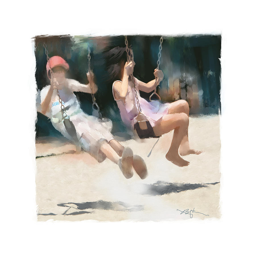 Kids Painting - Give Me A Push by Bob Salo