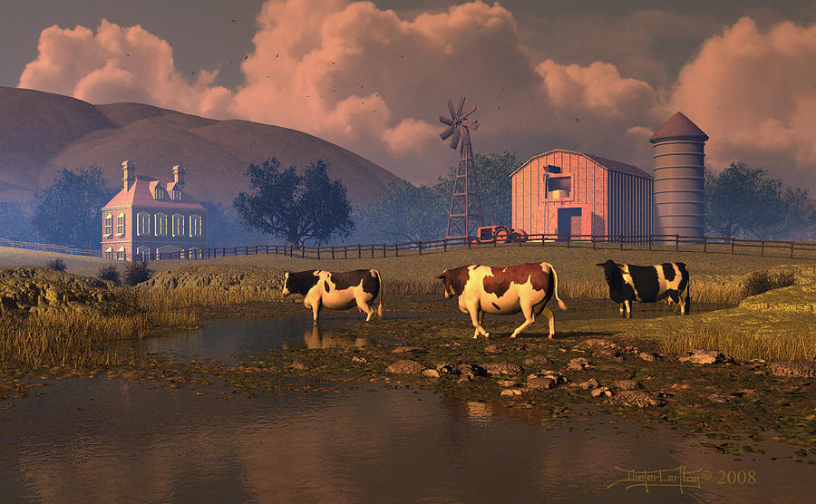 Cows Digital Art - Give Us This Day by Dieter Carlton