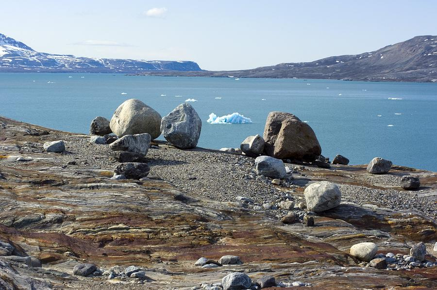 Fjord Photograph - Glacial Erratics And Fjord by Dr Juerg Alean