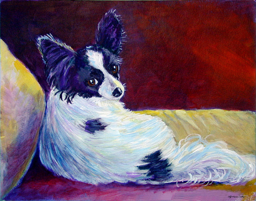 Animals Painting - Glamor - Papillon Dog by Lyn Cook