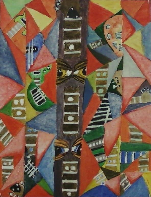 Guitar Parts Canvas Board Painting - Glass Full Of Guitar Parts by Cecelia Taylor-Hunt