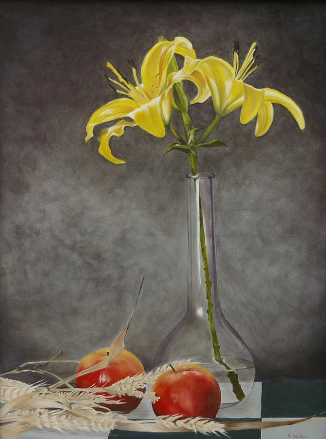 Glass Vase With Apples And Flowers Painting By Kim Walton