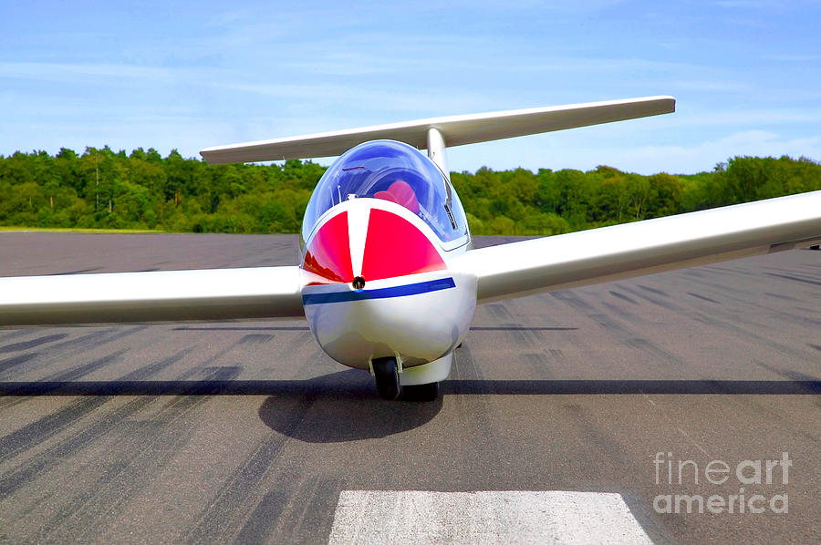 Glider Photograph - Glider On A Runway by Richard Thomas