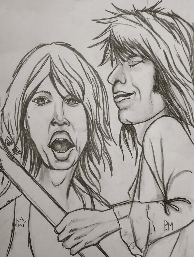 Mick Jagger Drawing - Glimmer Twins by Pete Maier