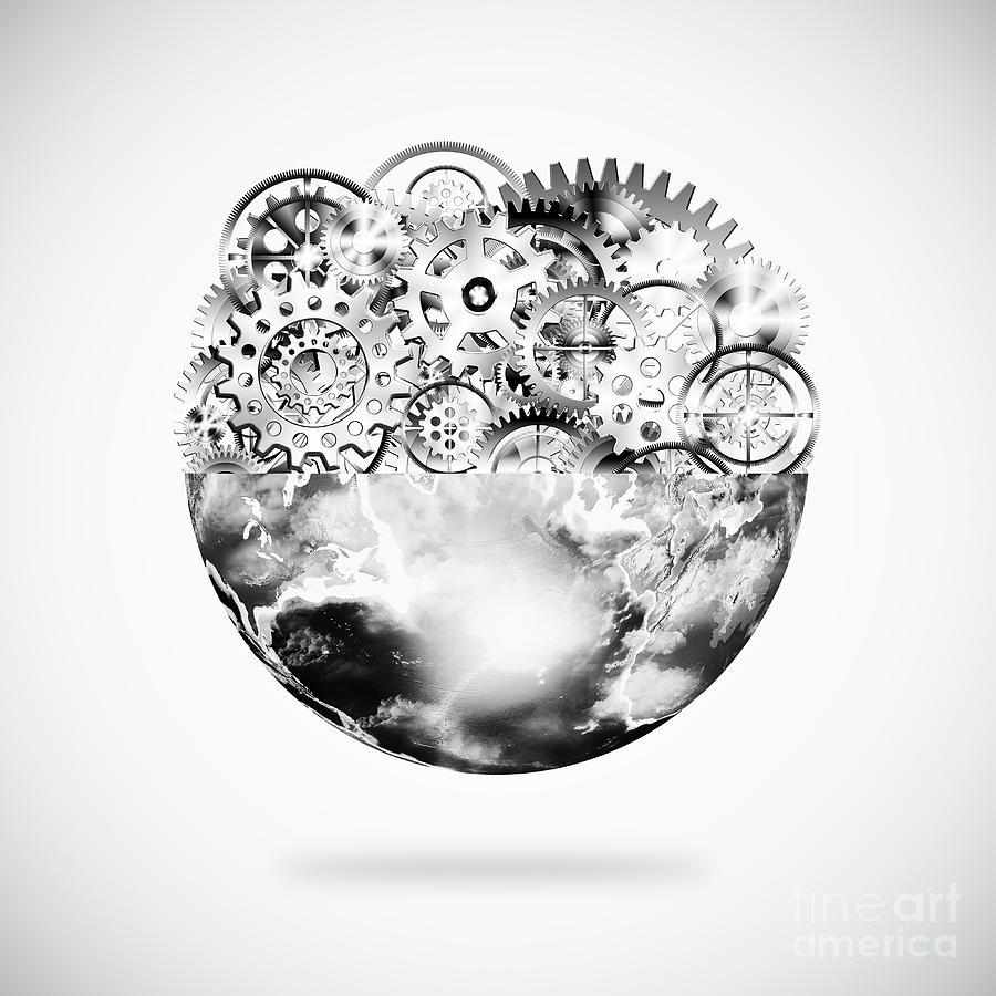 Background Photograph - Globe With Cogs And Gears by Setsiri Silapasuwanchai