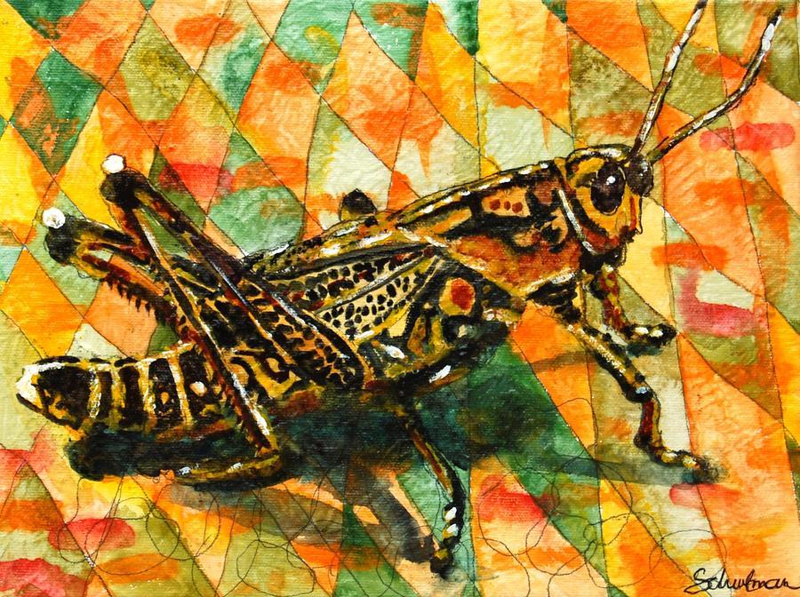 Glorious Grasshopper Painting By Miriam Schulman