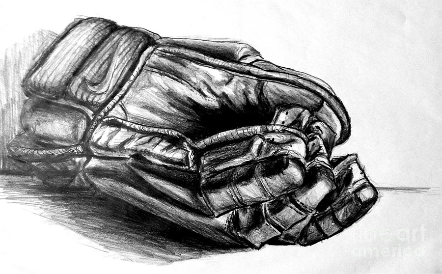 Pencil Drawing - Gloves by Mike N