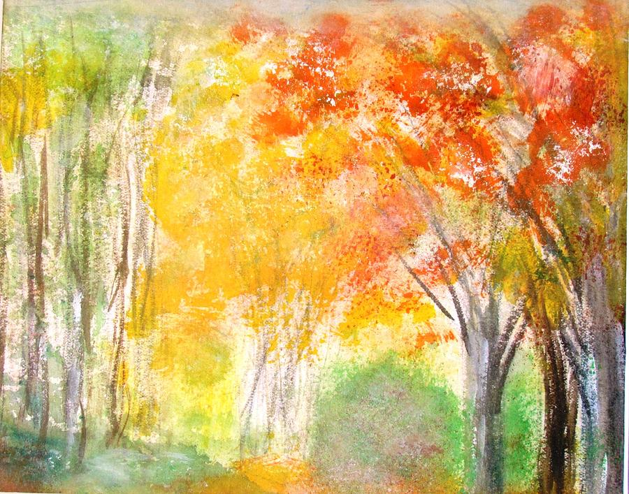 Fall Landscape Painting - Glow by Edie Schmoll