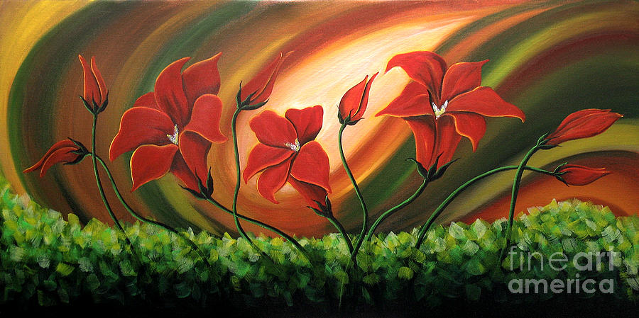 Floral Paintings Painting - Glowing Flowers 4 by Uma Devi