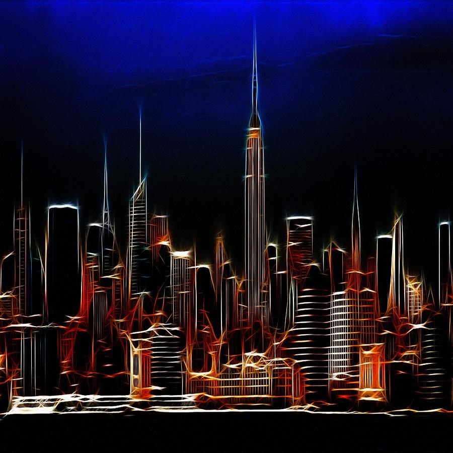 Glowing New York Digital Art by Steve K