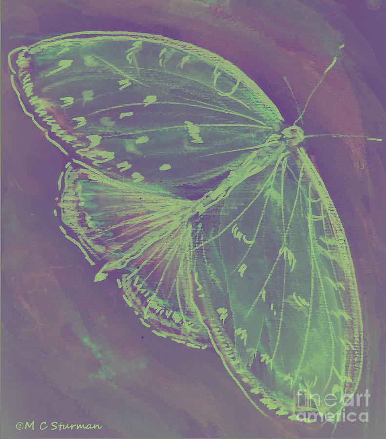 Green Mixed Media - Go Green Butterfly by M C Sturman