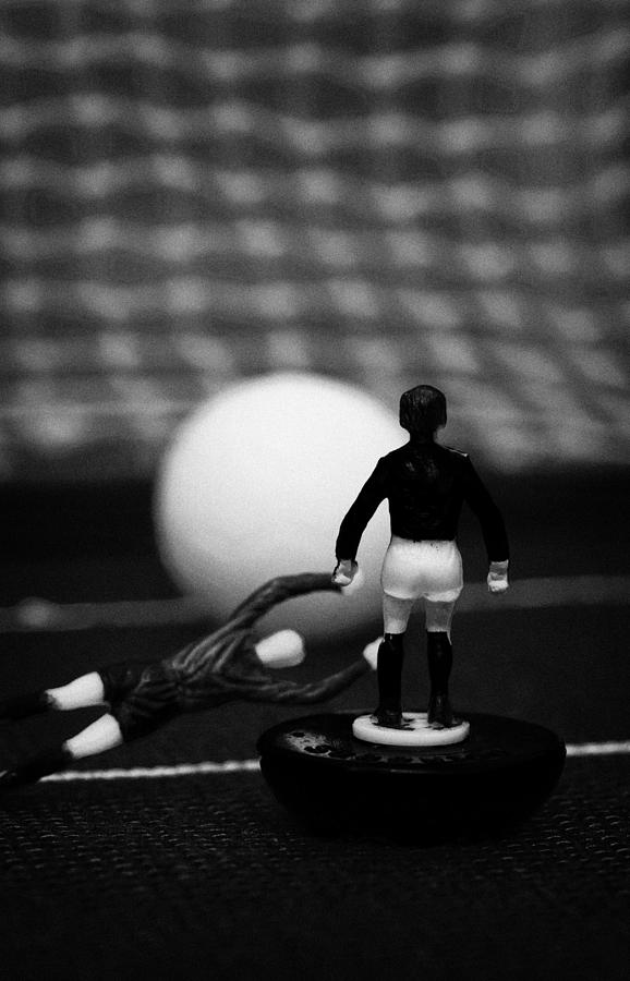 Table Photograph - Goalkeeper Diving To Foul Player In The Box Football Soccer Scene Reinacted With Subbuteo  by Joe Fox